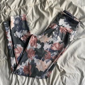 Marika floral pink, blue and gray leggings